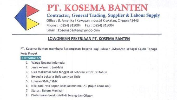 Lowongan Kerja Untuk Lulusan Sma Smk Pt Kosema Banten Area Serang