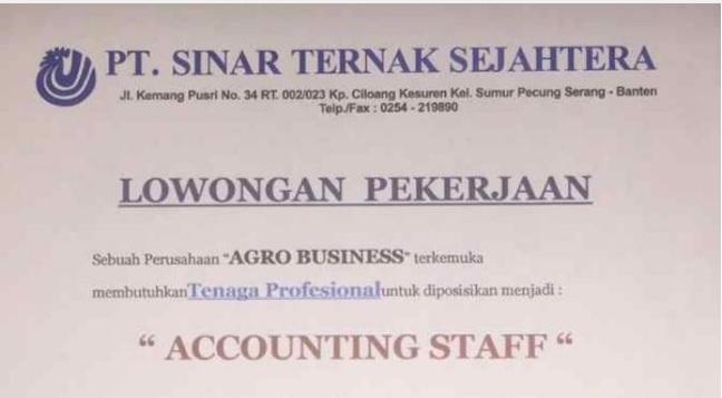Lowongan Kerja Accounting Staff Pt Sinar Ternak Sejahtera Charoen Pokphand Group Kota Serang Serangkab Info