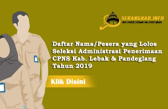 Berikut Hasil Seleksi Administrasi Penerimaan CPNS Kab. Lebak & Pandeglang Tahun 2019